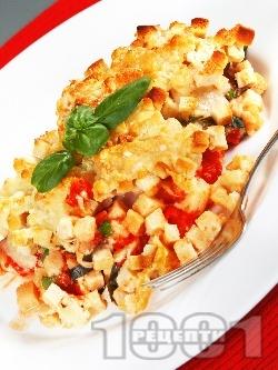Печено пилешко филе със сирене пармезан, моцарела, домати от консерва, босилек и крутони на фурна - снимка на рецептата